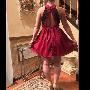 New Tobi wine red mini dress black lace back large